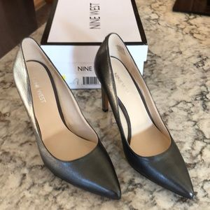 Dark Pewter Metallic Tatiana Stiletto Pumps NIB